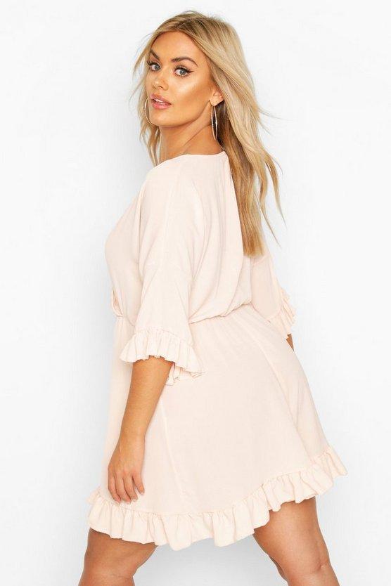 Plus Ruffle Sleeve Wrap Front Skater Dress