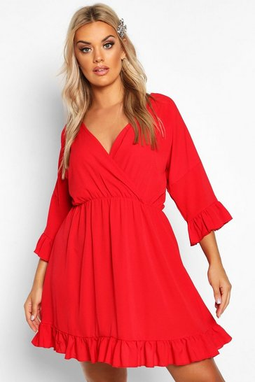 Womens Red Plus Ruffle Sleeve Wrap Front Skater Dress