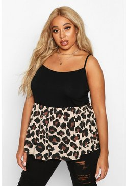 Womens Black Plus Leopard Print Cami Top