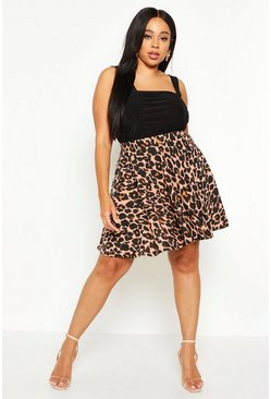 Tan Plus Leopard Skater Skirt