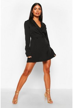 Black Petite Double Breasted Pocket Detail Blazer Dress