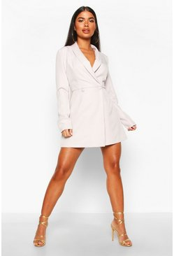 Womens Ivory Petite Double Breasted Pocket Detail Blazer Dress