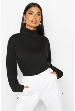 Black Petite Roll Neck Sweat Top