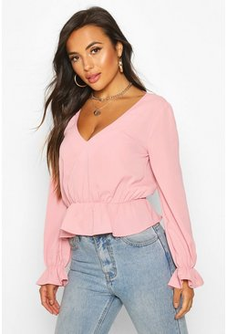 Womens Blush Petite Woven V-Back Frill Peplum Blouse