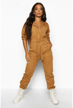 Tan Petite Zip Detail Belted Boilersuit