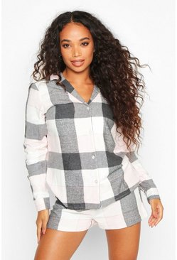 Womens Rose pink Petite Flannel Check PJ Short Set