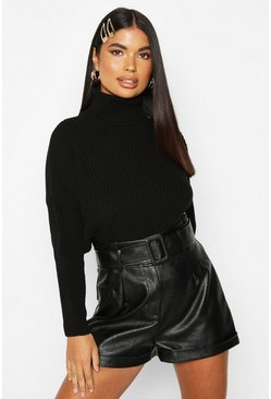 Womens Black Petite Roll Neck Oversized Jumper