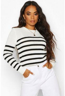 Womens Cream Petite Stripe Oversized Jumper