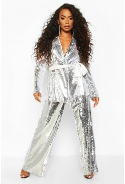 Womens Silver Petite Sequin Long Line Belted Blazer