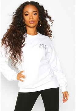 Womens White Petite Triple Rose Sweat Top