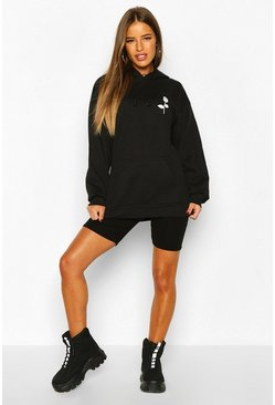Womens Black Petite Rose Pocket Print Hoodie