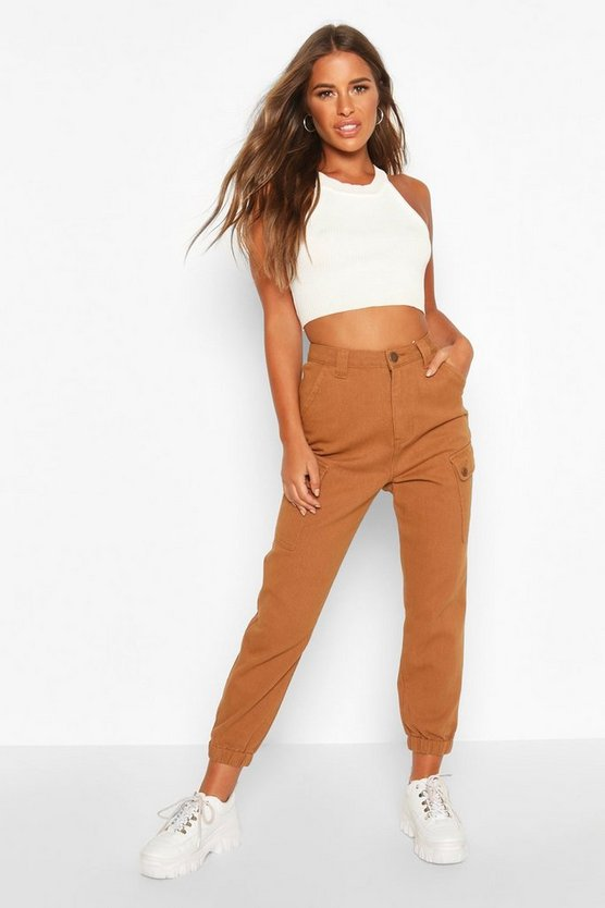 Petite Side Pocket Utility Cargo Jeans