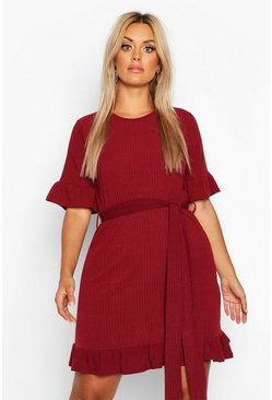 Womens Berry Plus Soft Rib Ruffle Tie Waist Shift Dress
