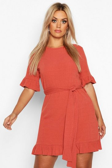 Womens Rust Plus Soft Rib Ruffle Tie Waist Shift Dress