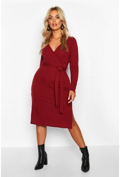 Berry Plus Soft Rib Wrap Belted Midi Dress