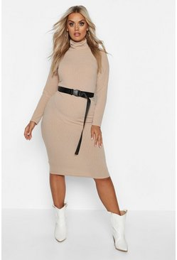 Stone Plus Soft Rib Roll Neck Midi Dress
