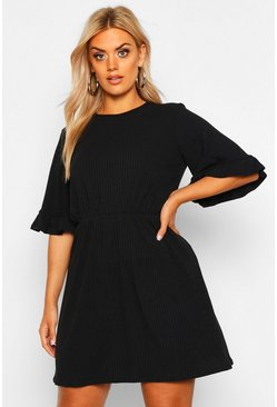 Womens Black Plus Soft Rib Ruffle Smock Dress