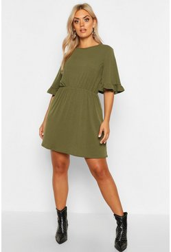 Womens Khaki Plus Soft Rib Ruffle Smock Dress