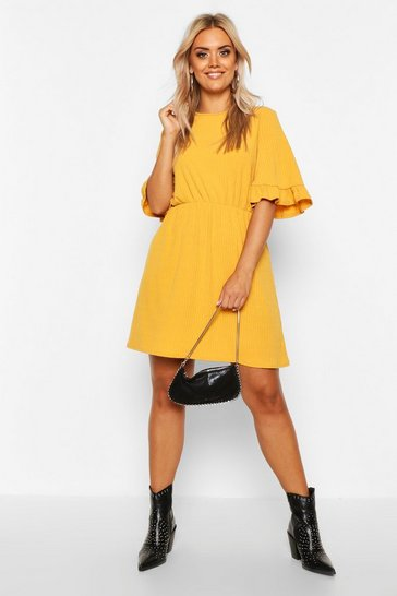 Mustard Plus Soft Rib Ruffle Smock Dress