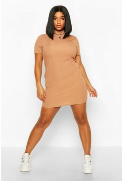 Womens Camel Plus Soft Rib Cap Sleeve Midi Dress