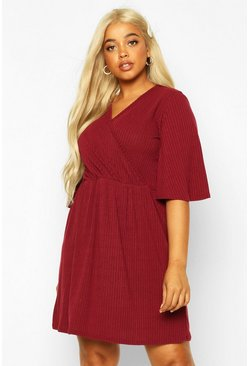 Dam Berry Plus Soft Rib Wrap Smock Dress