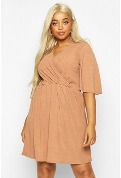 Camel Plus Soft Rib Wrap Smock Dress