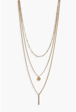 Womens Gold Plus Bar + Coin Layered Choker Necklace