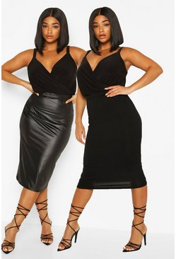 Womens Black Plus 2 Pack Leather Look + Jersey Midi Skirt