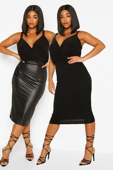Black Plus 2 Pack Leather Look + Jersey Midi Skirt
