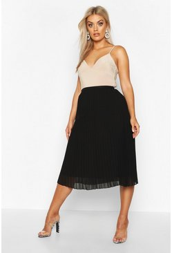 Womens Black Plus Chiffon Pleated Midi Skirt