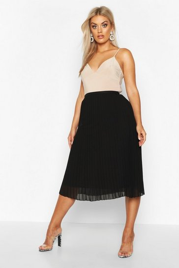 Black Plus Chiffon Pleated Midi Skirt