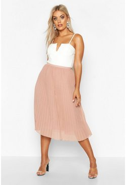 Blush Plus Chiffon Pleated Midi Skirt