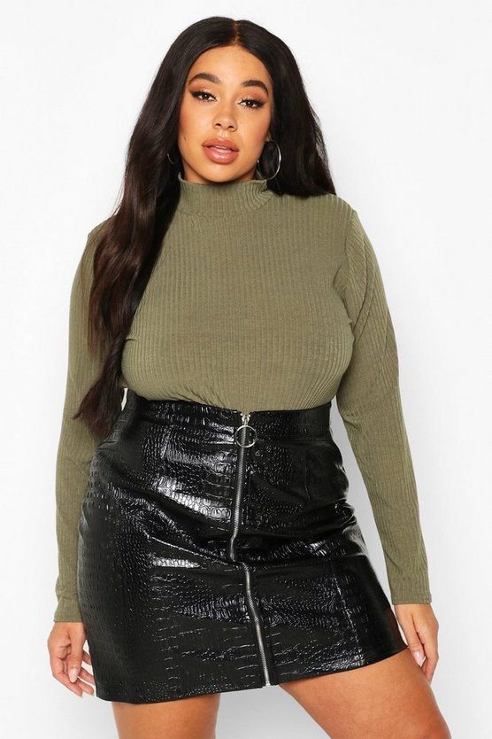 Black Plus Mock Croc Zip Through Leather Look Skirt