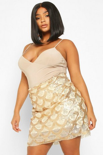 Womens Gold Plus Sequin Scallop Aline Skirt