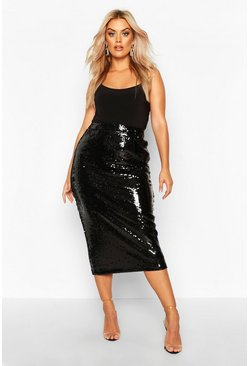 Womens Black Plus Sequin Longline Midi Skirt