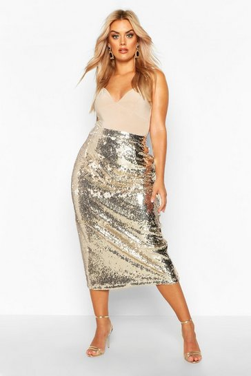 Womens Gold Plus Sequin Longline Midi Skirt