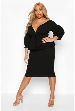 Black Plus Off Shoulder Wrap Top & Skirt Co-Ord