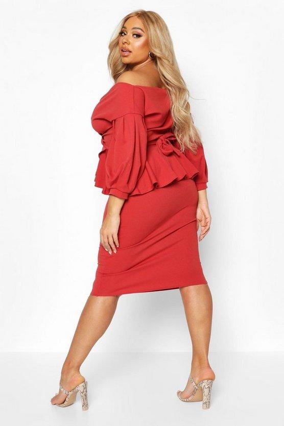 Plus Off Shoulder Wrap Top & Skirt Co-Ord