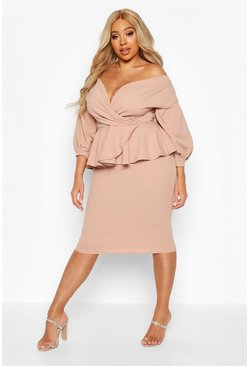 Stone Plus Off Shoulder Wrap Top & Skirt Co-Ord