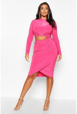 Hot pink Plus Slinky Knot + Wrap Front Skirt Co-Ord