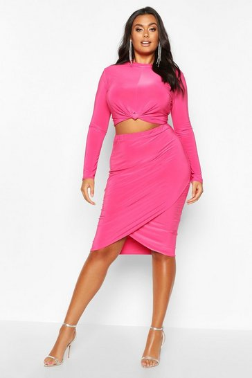 Womens Hot pink Plus Slinky Knot + Wrap Front Skirt Co-Ord