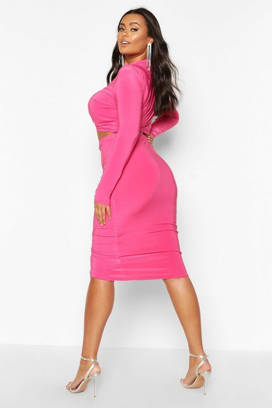Plus Slinky Knot + Wrap Front Skirt Co-Ord