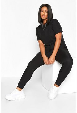 Set T-shirt a coste e legging Plus, Nero