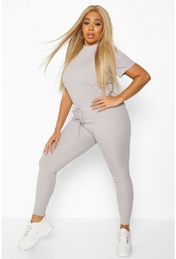 Grey Plus Rib T-Shirt + Legging Co-Ord