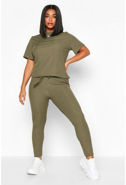 Set T-shirt a coste e legging Plus, Kaki