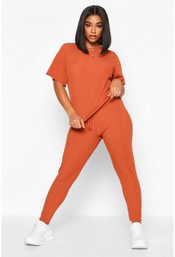 Womens Rust Plus Rib T-Shirt + Legging Co-Ord