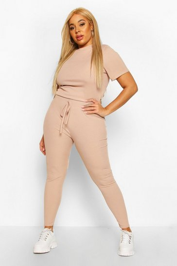 Stone Plus Rib T-Shirt + Legging Co-Ord