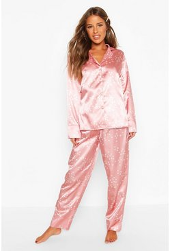 Womens Pink Petite Satin Star & Spot Print PJ Set