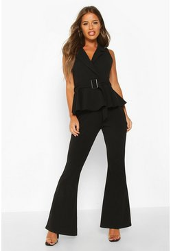 Womens Black Petite Belted Peplum Wide Leg Jumpsuit