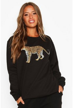 Womens Black Petite Leopard Oversized Sweat Top